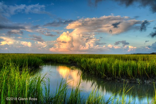 copahee sound mount pleasant south carolina low country marsh grass creek clouds reflections