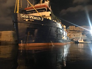 One of the detained SeaWatch vessels in the Malta. | by Sinn Féin