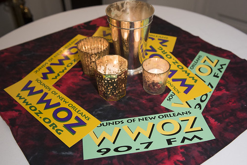 Bumper stickers at the WWOZ Groove Gala on September 6, 2018. Photo by Ryan Hodgson-Rigsbee www.rhrPhoto.com