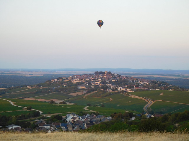 Hot air balloon over Sancerre