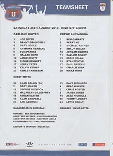 Carlisle United V Crewe Alexandra 25-8-18   by cumbriangroundhopper