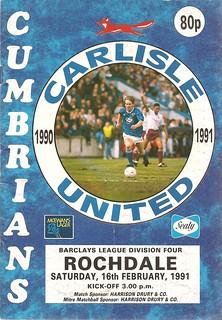 Carlisle United V Rochdale 16-2-91 | by cumbriangroundhopper
