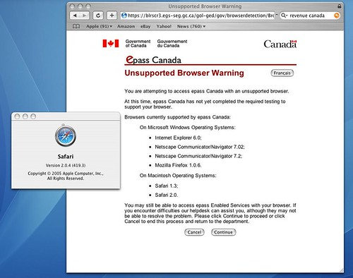 Canada Revenue unsupported browser 1: Safari 2 | by trento