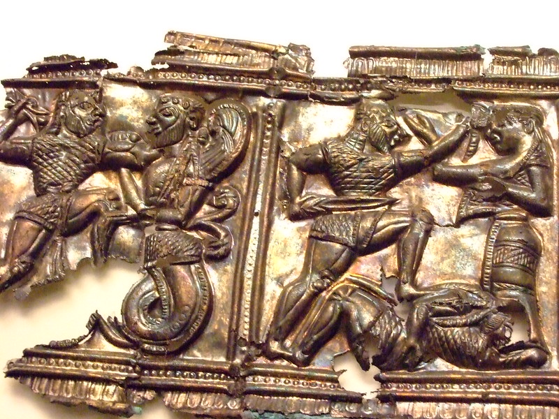 Relief with Mthological Scenes Greek made in South Italy 540-530 BCE Silver and gold (3)