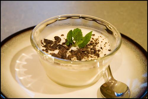 White Chocolate Panna Cotta with Dark Chocolate Sauce