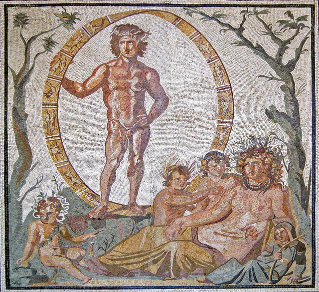 Aion (God of eternity) within a zodiac circle together with Tellus (Earth) and the four seasons