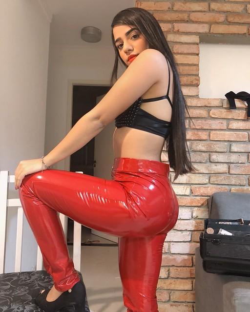 Mirella Santos in vinyl pants