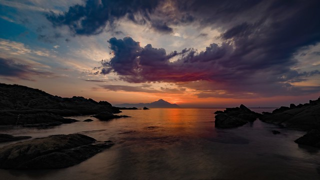 sunrise behind Mount Athos