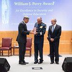 Ju, 09/20/2018 - 14:18 - On Thursday, September 20, 2018, the William J. Perry Center for Hemispheric Defense Studies honored General Salvador Cienfuegos Zepeda, Secretary of National Defense of Mexico, and Escola Superior de Guerra (ESG), National War College of Brazil, with the 2018 William J. Perry Award for Excellence in Security and Defense Education. Named after the Center's founder, former U.S. Secretary of Defense Dr. William J. Perry, the Perry Award is presented annually to individuals who and institutions that have made significant contributions in the fields of security and defense education. From the many nominations received, awardees are selected for achievements in promoting education, research, and knowledge-sharing in defense and security issues in the Western Hemisphere. Awardees' contributions to their respective fields further democratic security and defense in the Americas and, in so doing, embody the highest ideals of the Center and the values embodied by the Perry Award.