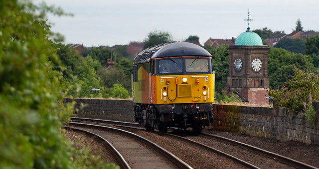 Colas Railfreight Class 56 no 56090 approaches Mansfield Station on 22-08-2018 with a Barnetby to Barnetby Route Learner.