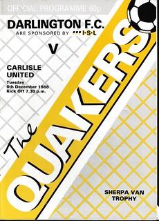 Darlington V Carlisle United 6-12-88 | by cumbriangroundhopper