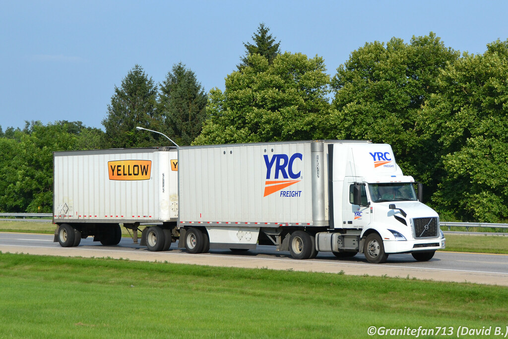 YRC Freight Volvo VNR with Doubles | Trucks, Buses, & Trains