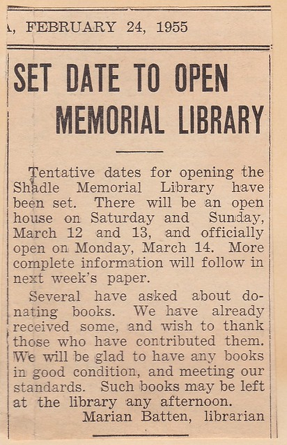 SCN_0009 19550224 Date To Open Memorial Library