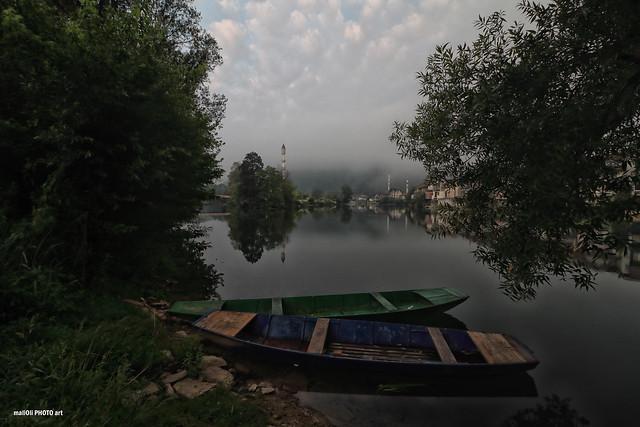 Misty morning by the river Una in Bosanska Otoka