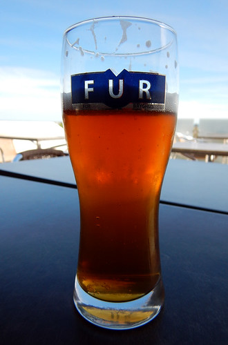 Having a Fur beer in the De2Have Cafe in Skagen, Denmark