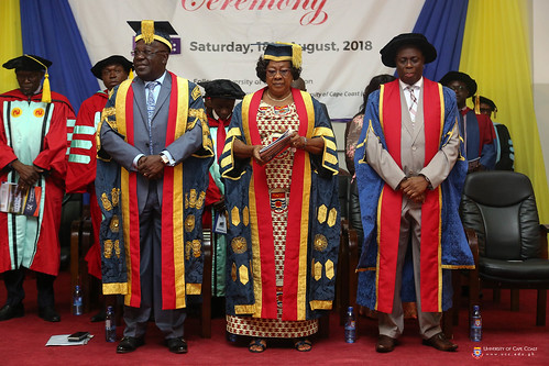 From left to right: Chancellor, Dr. Sir. Sam Jonah; Chair of University Council, Mrs. Nancy O. C. Thompson; and Vice-Chancellor, Prof. Joseph Ghartey Ampiah.