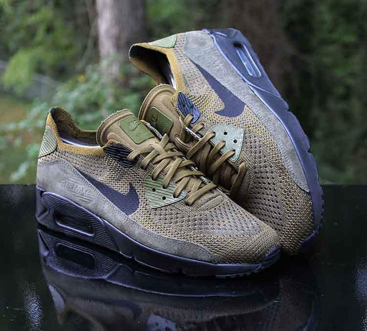 info for 58348 06162 Nike Air Max 90 Ultra 2.0 Flyknit Olive Flak Black 875943 ...