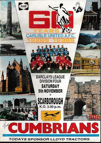 Carlisle United V Scarborough 5-11-88 | by cumbriangroundhopper