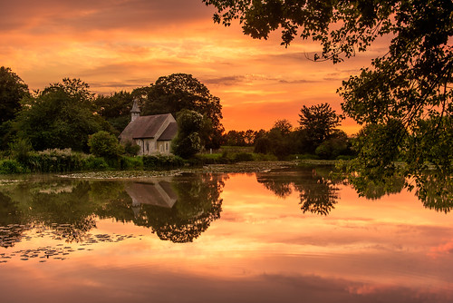 churchbythepond sunset hartleymauditt hampshire ghosttownofhampshire reflections clouds stleonardschurch pond lilies still tranquil trees monstercarp peaceful calm 1100ad filter lee nd grad nikon d810 2470mm august 2018 sunsetsnapper