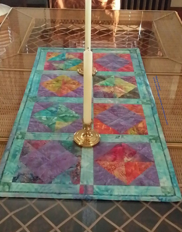 Fire and Ice table runner on the table
