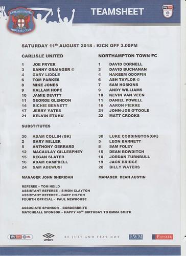 Carlisle United V Northampton Town 11-8-18   by cumbriangroundhopper
