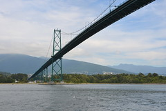 Passing under Lions Gate Bridge