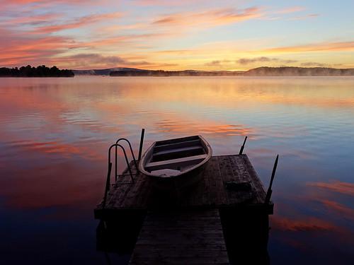 sunrise morning early summer serene boat sky wood lake sweden atmosphere moody jetty water rowingboat misty moist