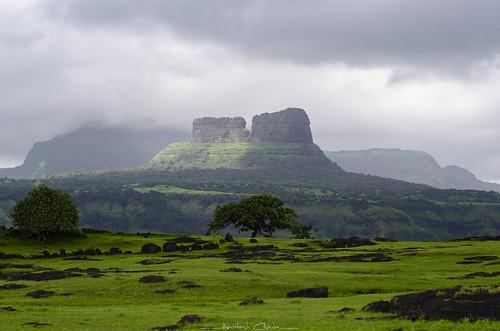 tailbaila fort ruins tailbailafortruins sahyadri sahyadrirange monsoon monsoontravel trek magmaticdyke steep verticalwallofrocks viewfromsudhagadfort maharashtra