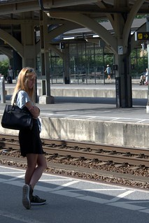 Girl in train station