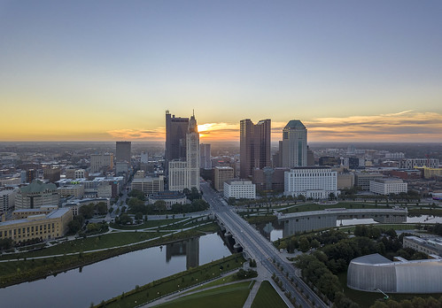 columbus ohio cityscape sunrise downtown architecture ariel hdr reflections