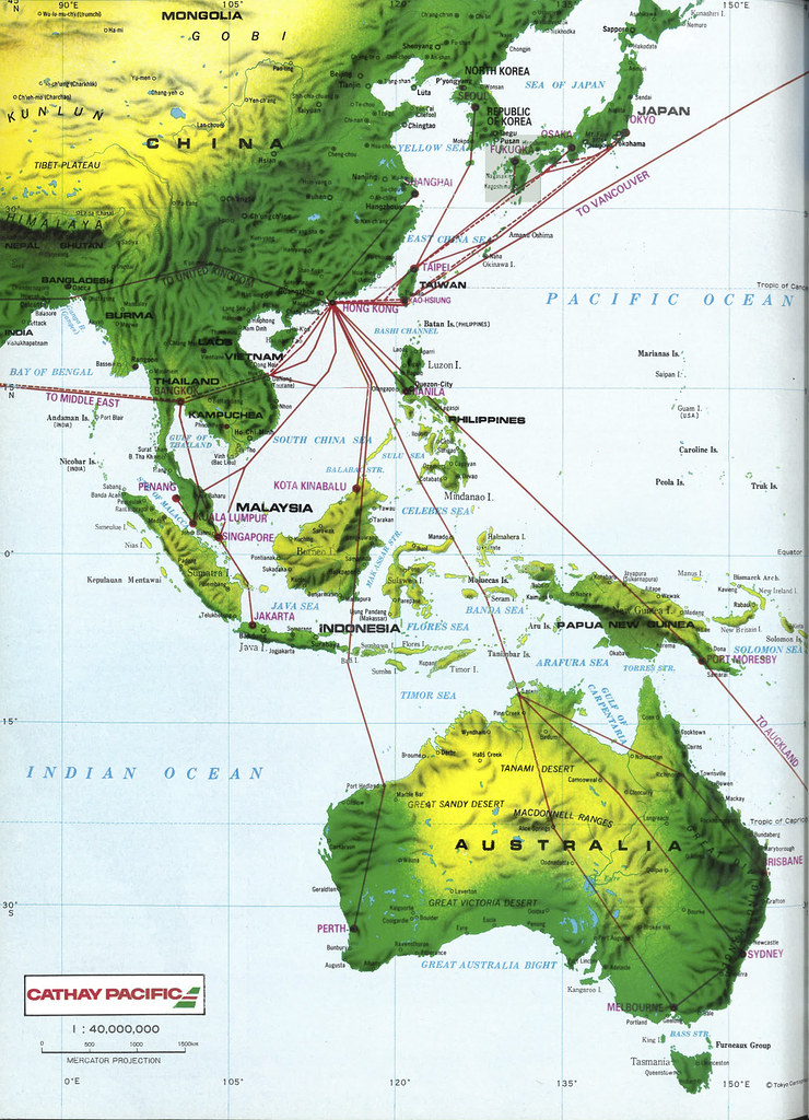 Australia And Pacific Map.Cathay Pacific Asia And Australia Map 1985 Cathay Pacific Flickr