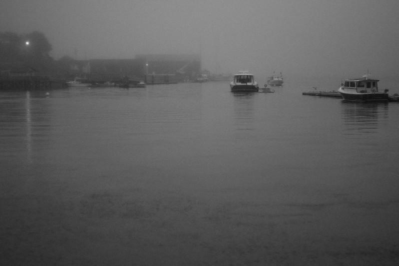 fog, dusk, harbor, Thomaston, Maine, Nikon D3300, nikon nikkor 50mm f-2, 9.15.18