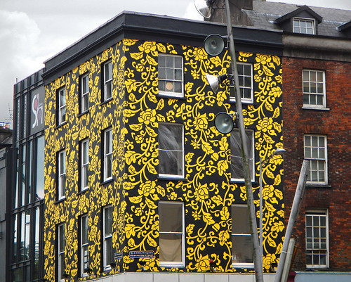 Yellow flowered mural on a building in Cork, Ireland