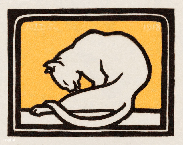A waxing cat (1918) by Julie de Graag (1877-1924). Original from the Rijks Museum. Digitally enhanced by rawpixel.