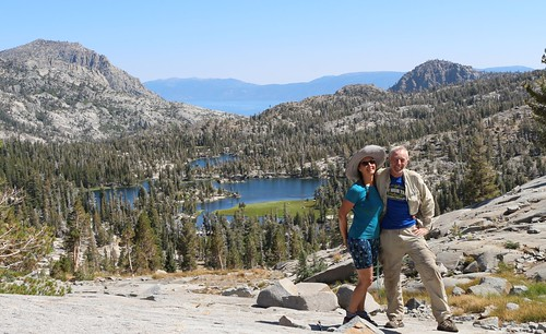 2027 Posed timer shot of the two of us from the PCT looking down at Lower Velma Lake and Lake Tahoe | by _JFR_