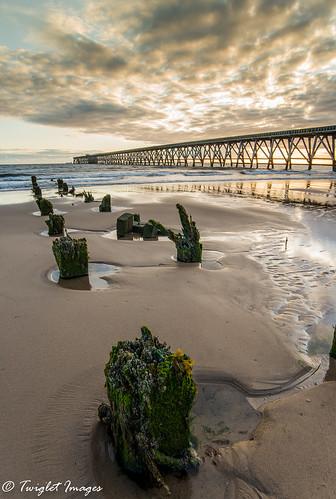 steetley nikon d600 beach sea ocean sky sand water pier sunrise sun cloud wooden post timber moss salt abandoned england coastal coast cleveland harlepool