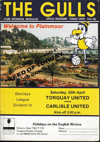 Torquay United V Carlisle United 30-4-88 | by cumbriangroundhopper