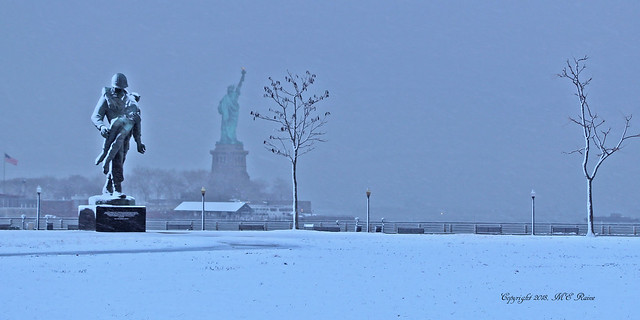 Liberty State Park's Southern End DAWN Scene (#5) After Snow and Ice Storm— Jersey City New Jersey