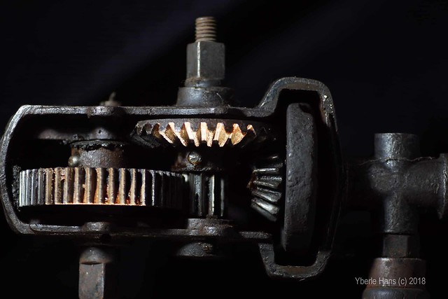 Gear box in a historic drill