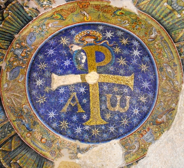 Christ's Monogram (XP = XPIΣTΟΣ with A and Ω = Jesus is the beginning and the end) crowned by God's hand - mosaic of the Baptistery of San Giovanni in Fonte (end 4th century AD), the most ancient baptistery of the whole West - Cathedral of Naples