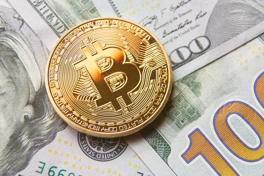 Bitcoin on cash   Single bitcoin with gold reflection on ...