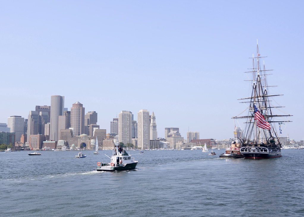 USS Constitution is tugged out to Fort Independence on Cas ...