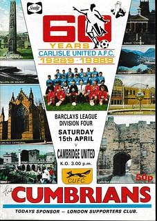 Carlisle United V Cambridge United 15-4-89   by cumbriangroundhopper
