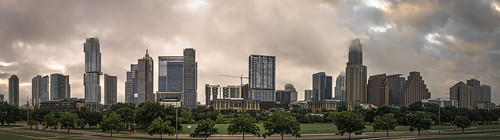 austin texas downtown dawn rain clouds cloudy panorama