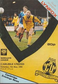Cambridge United V Carlisle United 7-5-88 | by cumbriangroundhopper