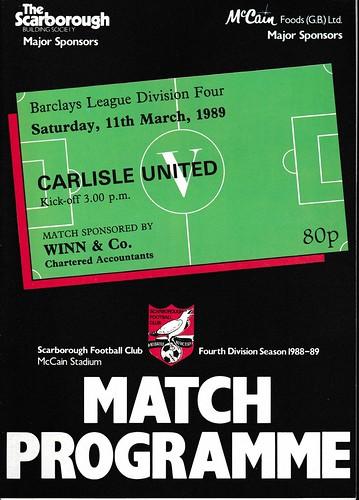 Scarborough V Carlisle United 11-3-89 | by cumbriangroundhopper