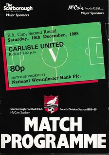 Scarborough V Carlisle United 10-12-88 FA Cup   by cumbriangroundhopper