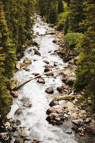 wyoming lakecreek flows lookingdownstream newlakecreekbridge beartoothhighway shoshonenationalforest northwestwyoming stream creek trees logs rocks rapids bridge view beartoothmountains wyojones np