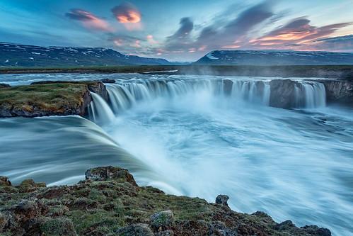 godafoss goðafoss iceland icelandic norðurlandeystra skjálfandafljót landscape outdoor river sunset water waterfall