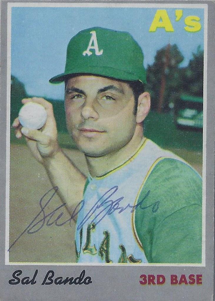 1970 Topps - Sal Bando #120 (Third Base) - Autographed Baseball Card (Oakland A's)